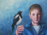 <h5>Thomas and Magpie</h5><p>Acrylic on Plywood</p>
